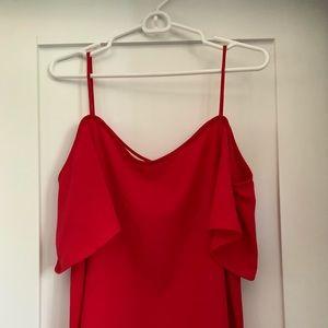 BP off shoulder red shirt